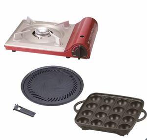 新品^_^イワタニ カセットコンロ CB-TAS-1 焼肉プレート/たこ焼きプレートセット
