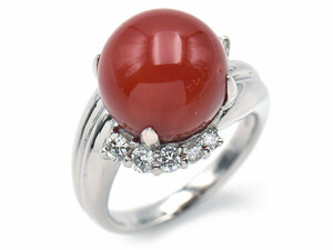 Approximately 12mm natural coral ring 11.5 PT900 newly finished total 0.464CT Natural Diamond Coral Coral Grain Platinum Used Free Shipping
