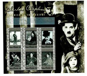 チャーリー・チャップリン 切手シート アンティグア・バーブーダ 2000年 未使用/MNH