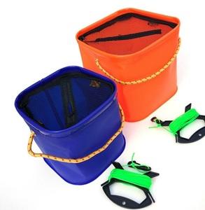 【vaps_2】ロープ付き 折りたたみバケツ 《20×20cm》 カラーランダム 釣り アウトドア 活かし 水くみ バッカン 送込