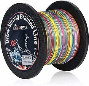 RUNCL 5色-500m ランケル(RUNCL) peライン 釣り糸 高強度 8本編み 5色 マルチカラー 100m 300m