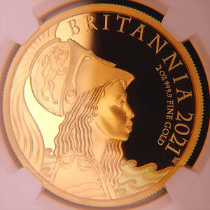 イギリス 2021年 プレミアム・ブリタニア 英国 200ポンド 2オンス プルーフ 金貨 NGC PF70UC【最高鑑定・世界15枚】