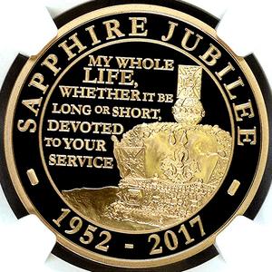 イギリス 2017年 エリザベス2世 即位65周年記念 英国 5ポンド 金貨 プルーフ NGC PF70UC【最高鑑定】