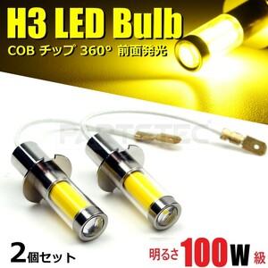爆光 24V 大型車 100W級 H3 LED COB フォグランプ バルブ ショートバルブ 2個セット クオン ギガ レンジャープロ プロフィア 他/93-368x2N:
