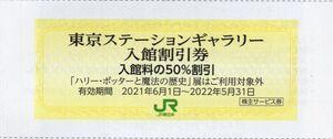 ◆.東京ステーションギャラリー(JR東京駅) 入館割引券(50%割引券) 1-10枚 2022/5/31期限 即決
