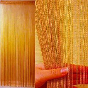 新品ゴールド KJ ストリングカーテン 高さ 200cm × 横 100cm(フリンジ・ひものれん) (LQW7
