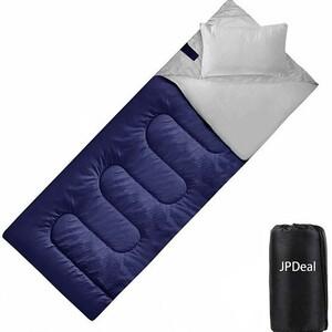 寝袋 シュラフ 封筒型 軽量 超暖かい 210T防水 収納袋付き1KGネイビー