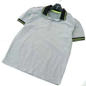 Trianglesquare トライアングルスクエア ロゴ刺繍 ライン 半袖 鹿の子★ ポロシャツ Sz.S位 メンズ グレー ゴルフ 日本製 d66ta190