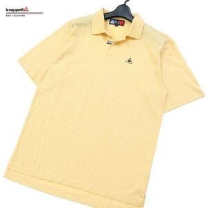 le coq sportif GOLF ルコック ゴルフ ロゴ刺繍 格子柄 鹿の子★ 半袖 ポロシャツ Sz.S メンズ 日本製 d66ta142