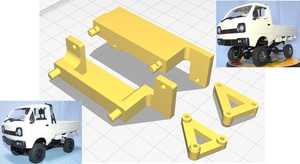 3DプリンタPLA+「1/16 CXD WPL D12 mini ボディ固定部品」京商 ミニッツ 4×4 ジムニー,ラングラー用 Mini Z 4x4