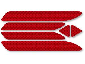 【NEW】反射ステッカー6枚セット(レッド)@再帰反射タイプ 屋外耐候◎ 追突防止 ドア リアバンパー リフレクター 反射板 プリウス ノアに