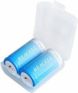 D型 REACELL 単1電池 充電式ニッケル水素電池 10000mAh 単1形充電池 2個入 ケース付き 約1200回使用可能
