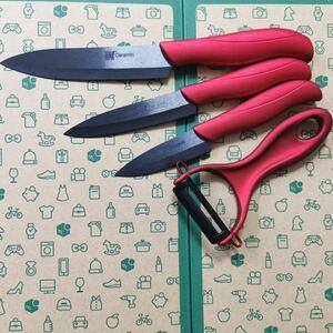 訳あり品特価!! セラミック 包丁 3本セット + ピーラー付き ナイフ 赤 黒 ジルコニア 1