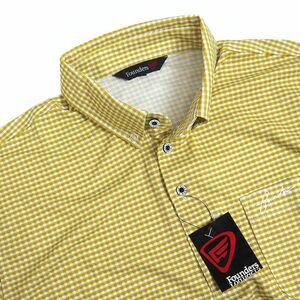 新品 ファウンダースクラブ ギンガムチェック ボタンダウン ポロシャツ 長袖 O メンズ Founders Club ゴルフウェア ベージュ系 L884