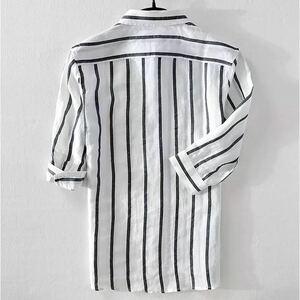 半袖シャツ 上質 リネンシャツ メンズ Tシャツ 新品 亜麻 定番ストライプ柄 夏 サマー 七分袖シャツ 麻シャツ 心地良し グレー 2XL
