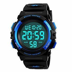 1-ブルー 子供腕時計 男の子 デジタル腕時計 ボーイズスポーツウォッチ アウトドア多機能50m防水 アラート 日付曜日表示