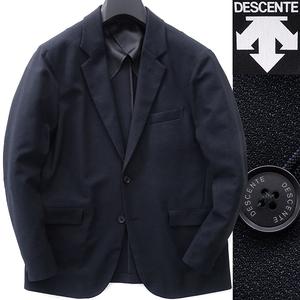 新品 DESCENTE デサント 春秋 メランジ調 ストレッチ ジャケット 3L(LL以上) 紺黒 【J51803】 高機能 伸縮性抜群 メンズ ブレザー 背抜き