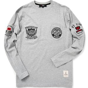 新品 MR.VAN ミスターヴァン 4連ロゴ 刺繍 長袖 Tシャツ M 灰 【VA1711012_97】 カットソー ロングスリーブ メンズ