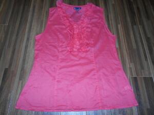 ●GAP●L サーモンピンクの胸元フリフリノースリーブシャツ 送料180円 美品