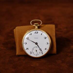 【希少・稼動】K18刻印 TIDY 小型 金無垢ケース 懐中時計 手巻き