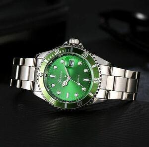 ■送料無料■新品♪日付表示ミリタリービジネス腕時計/グリーン