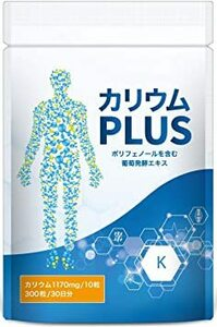 300個 (x 1) カリウムPLUS 塩化カリウム 栄養機能食品 1,170mg ミネラル (ビタミンB1 B2 B6 B12