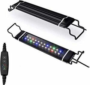Black 水槽ライト アクアリウムライト スライド式 LED熱帯魚ライト 水槽用 明るさ調整 3色12W/24LED 観賞魚飼