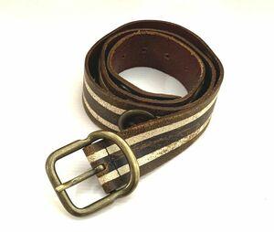 中古品 メンズ レザーベルト DIESEL / ディーゼル サイズ約/80~89cm カラー/ブラウン×ホワイト イタリア製