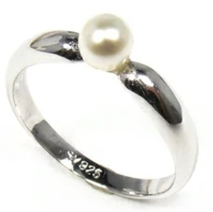 Genuine pearl pearl ring sv925 silver 4-4.5 mm simple ring white pearl ring