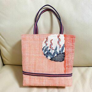 ハンドメイド 一点物 名古屋帯 帯 袋帯 リメイク トートバッグ ハンドバッグ 紬 織 織 赤 しじら織 手提げバッグ