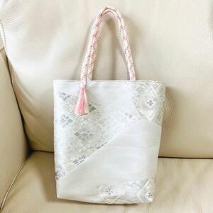 ハンドメイド 一点物 着物 袋帯 帯 リメイク 和装バッグ トートバッグ サブバッグ 銀色 華文 シルバー グレー ピンク 古典柄