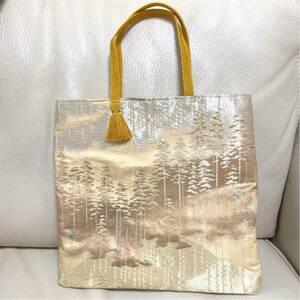 ハンドメイド 一点物 着物 袋帯 帯 リメイク ハンドバッグ トートバッグ サブバッグ 木 森 イエロー 金箔 金色 帯締めバッグ