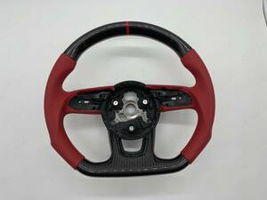 AUDI アウディ B9 A3 A4 A5 S4 S5 RS3 RS4 RS5 リアルカーボン 赤いレザー製 ステアリング 赤いセンターライン 送料無料