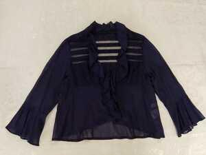 PARIENNE レース切り替え羽織りブラウス ネイビー Sサイズ