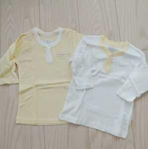 ◆未使用 ベビー 肌着 80cm 2枚 ◆長袖 下着 アンダーシャツ 新品 男女兼用