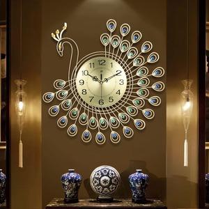 ◆最安にします◆ 壁掛け時計 クジャク 鳥 ストーン 石 ゴールド ウォールクロック アナログ時計 時計 インテリア リビング 寝室 AT9220