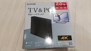 【新品】エレコム ELD-JOTV020UBK 外付けハードディスク 2TB 黒