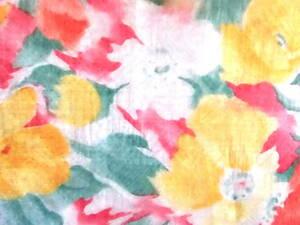 生地 花柄 イエローオーガンジーポリエステル 透け感 手芸 112cm巾x1m シュシュ 手芸 趣味 髪飾り 112cm巾x1m