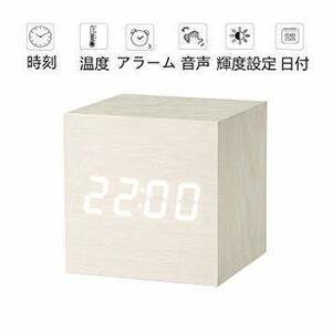新品ホワイト 置き時計 置時計 デジタル おしゃれ 北欧 木目調 アンティーク 時計 クロック 目覚まし時計 デKOTH
