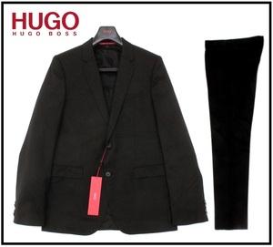 22万新品◆50L=M~L◆HUGO ヒューゴボス Super130ウールスーツ『SUPERBLACK』1円