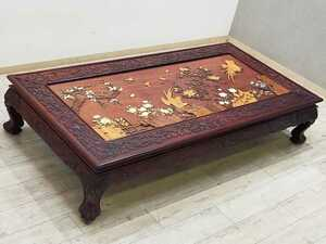 これぞ逸品 本物の家具と言える彫刻が美しい最高級座卓 約200万円 幅180cm 紫檀 彫刻 ガラス天板 ローテーブル 花 鳥 龍 伝統工芸