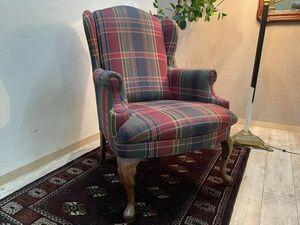 タータン柄の英国ウイングバックチェア 幅67cm アーム付き 布張り 1人掛けソファ パーソナルチェア 椅子 ファブリック 猫脚 (0)