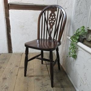 イギリス アンティーク 家具 キッチンチェア ホイールバック 椅子 イス 木製 英国 KITCHENCHAIR 4309d