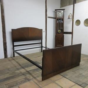 イギリス アンティーク 家具 ベッドフレーム 木製 オーク無垢材 アイアンフレーム 英国 OTHERFUNITURE 6219c