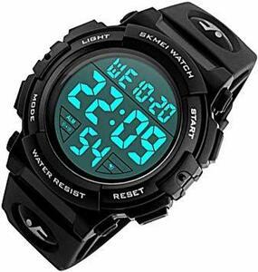 【 The earth crew 】 文字が見やすい スポーツデジタル腕時計 アラーム 防水 ストップウオッチ 機能付き メンズ