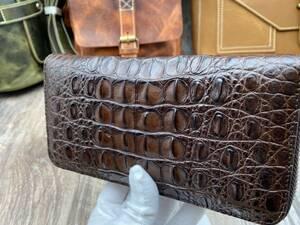 濃い茶 クロコダイル ワニ革 背革 本物保証 ラウンドファスナー 長財布 一枚革 鰐革 小銭入れあり 未使用