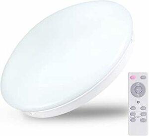 白 LED シーリングライト 6畳 リモコン付き 天井照明器具 24W 無段階調光 常夜灯モード 15分/30分/60分 スリー