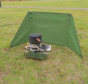 焚火陣幕 風防 ウインドスクリーン 焚き火リフレクター 帆布製 風よけ キャンプ タープ 軽量 コンパクト 収納袋付 mサイズ