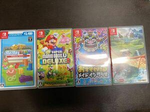 【中古ソフト4本セット】Nintendo Switch メイドインワリオ / Newスーパーマリオブラザーズ U / モンスターハンターストーリーズ2 任天堂
