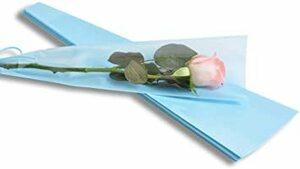 青 YONIK ラッピングバッグ フラワー 一輪用 ブーケ ラッピング 花 包装紙 50枚 (青)